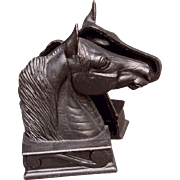 """Black Cast Iron """"The Stallion"""" Bookends or Door Stops - Red Tag Sale Item"""