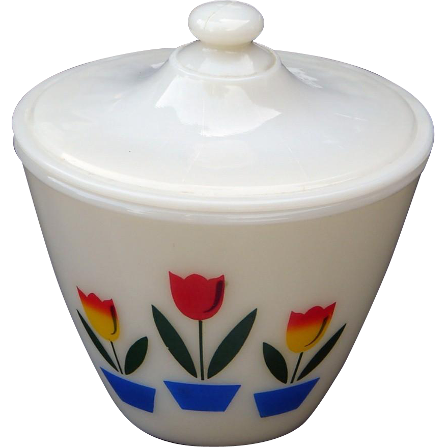 Superb Fire King Tulips on Ivory Glass Grease Jar with Lid