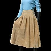 Vintage 1980s Designer Eddie Bauer Fabulous Suede Leather Full Skirt