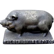 Antique Cast Iron Advertising Pig Hog Paperweight Berkshire Foundry Ohio