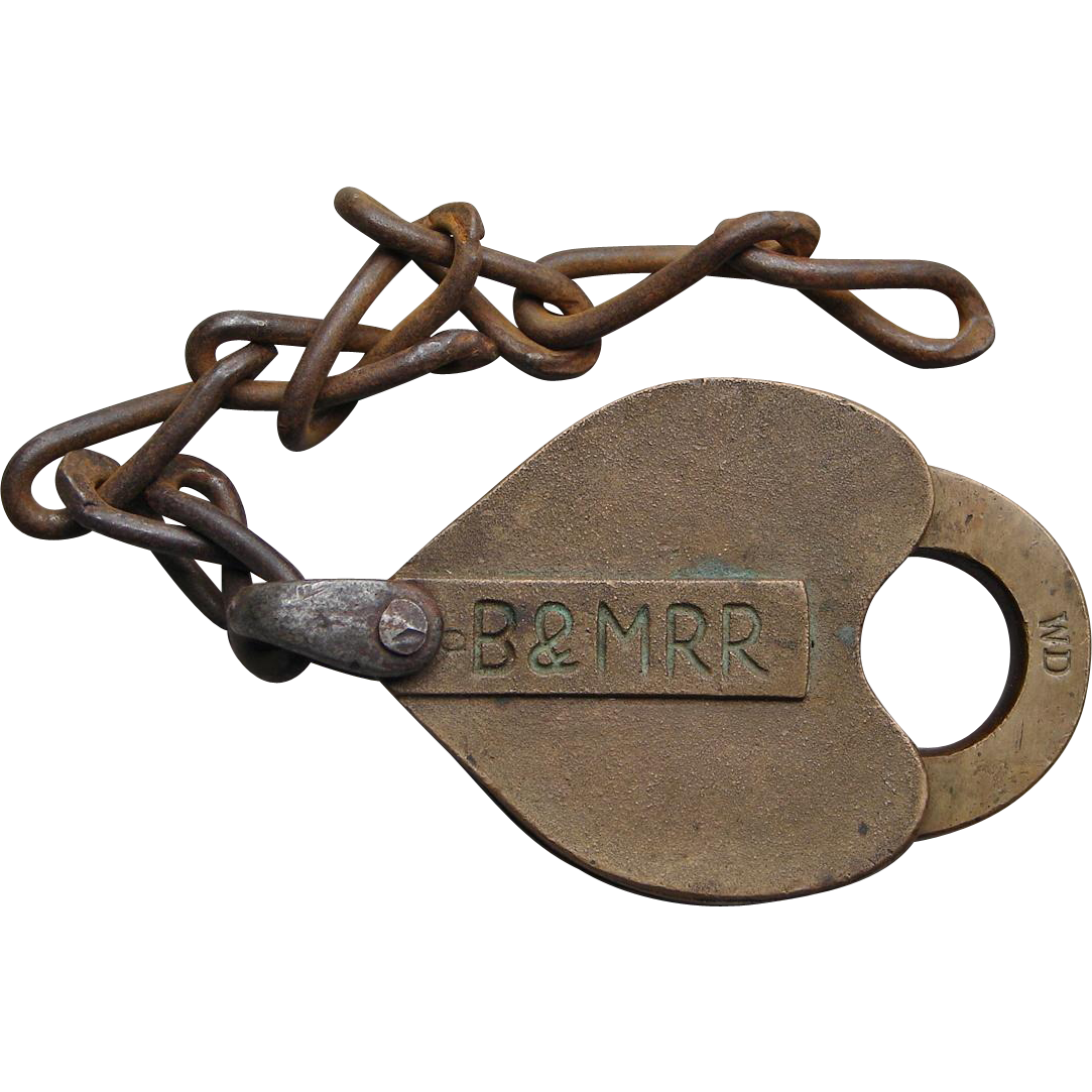 Antique Boston & Maine Railroad B&MRR WD Incised Brass Heart Shape Lock Padlock