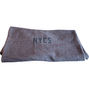 Vintage New York Central Railroad NYCS Monogram Work Car Bunk Blanket