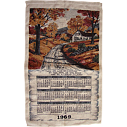 Vintage 1969 Kitchen Calendar Towel Kay Dee Artist Vermont House By The Side Of The Road FREE USA Shipping!