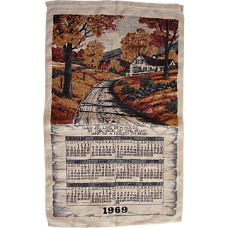 Vintage 1969 Retro Kitchen Calendar Towel Kay Dee Artist Vermont House By The Side Of The Road FREE USA Shipping!