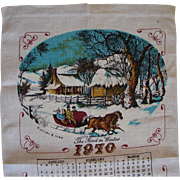 Vintage 1970 Calendar Towel Currier & Ives Winter Sleigh Scene FREE USA Shipping!