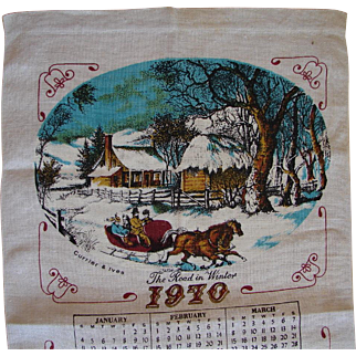 Vintage 1970 Retro Kitchen Calendar Towel Currier & Ives Winter Sleigh Scene FREE USA Shipping!