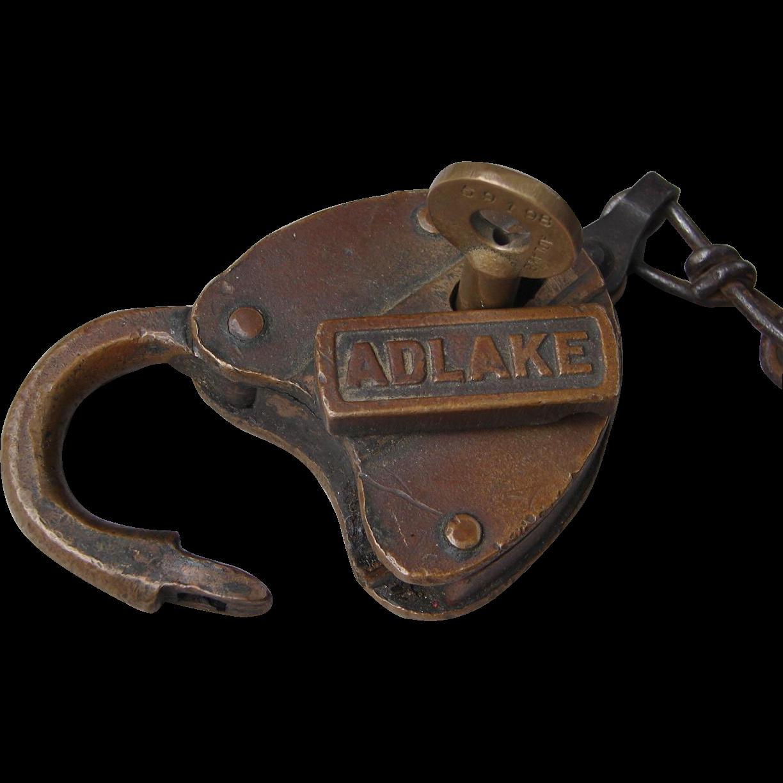 Vintage ADLAKE Cast Panel Heart Shape Railroad Brass Switch Lock with Rock Island Key