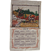 Vintage 1969 Linen Kitchen Calendar Towel Deer Family in the Forest Scene FREE USA Shipping!