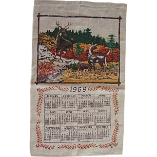 Vintage 1969 Linen Retro Kitchen Calendar Towel Deer Family in the Forest Scene FREE USA Shipping!