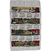 Vintage 1969 Linen Kitchen Calendar Towel American Colonial Scenes FREE USA Shipping!