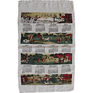 Vintage 1969 Linen Retro Kitchen Calendar Towel American Colonial Scenes FREE USA Shipping!