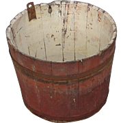 Antique Primitive Vermont Maple Sap Bucket All Original Wooden In Old Red Paint