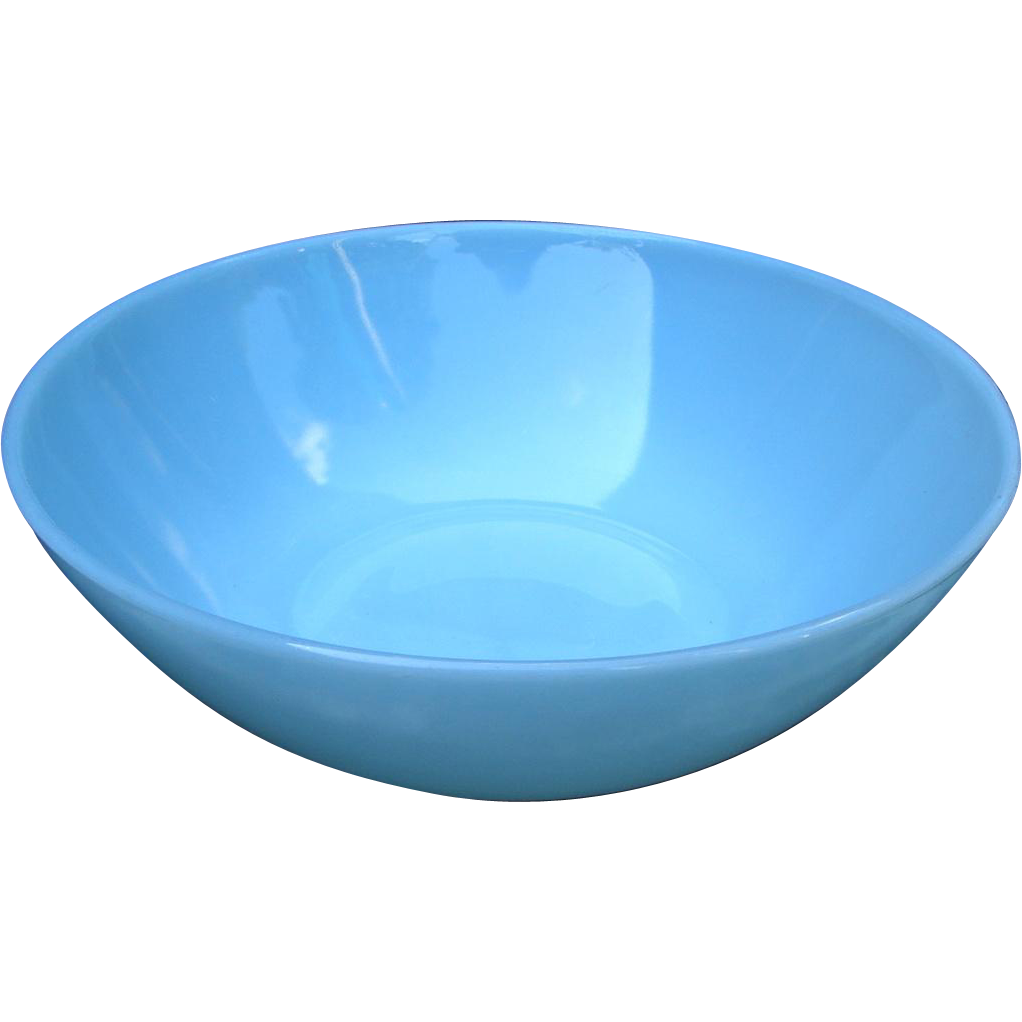 Vintage 1950s SUPERB Fire-King Turquoise Blue Glass Bowl Anchor Hocking Mid-Century
