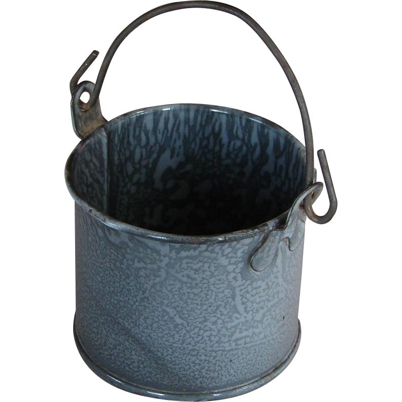 Adorable Little Gray Graniteware Enamel Berry Pail with Bail Handle