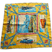 Bright & Colorful Railroad Theme Scarf from France  by Jean Esteoule - Paris