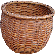 "Superb Large Round Taghkanic ( Taconic ) ""Bushwhacker"" Oak/Ash Splint Basket"