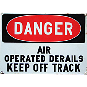 Terrific Vintage DANGER Porcelain Enamel Vintage Railroad Sign
