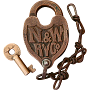 Vintage Norfolk & Western Railway N&WRY Cast Back Fancy Brass Railroad Switch Lock & Key Set