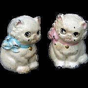 Antique TWO Hubley Miniature Cast Iron Kitten Cat Paperweights