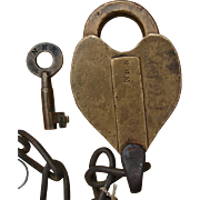 Antique 1800s Rare Northern Railroad Brass Heart Lock & Tapered Key Sherburne Set NRR New Hampshire