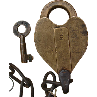 Antique 1800s Rare Northern Railroad Brass Heart Lock & Tapered Key Sherburne Set NRR New Hampshire