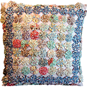Vintage 1930s-1940s Hand Made Yo-Yo Circles Quilt Top Sofa Pillow