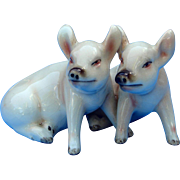 Vintage Pair China Sitting Pigs by Goebel West Germany
