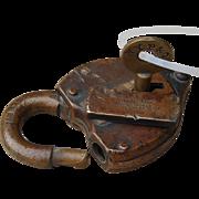 Antique New York, Pennsylvania & Ohio Railroad Brass Switch Lock & Key Set NYP&ORR