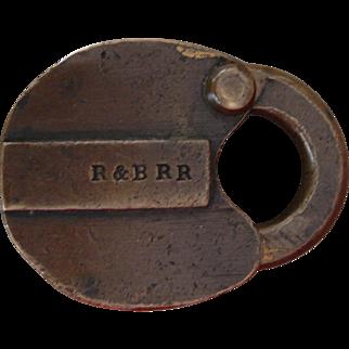 Antique R&BRR Rutland & Burlington Railroad Brass Switch Lock