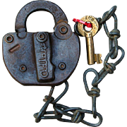 Vintage Toledo Peoria & Western Railway TP&WRR Railroad Switch Lock & Key Set