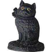 Vintage Cast Iron Golden-Eyed Black Cat Doorstop Possibly Hubley