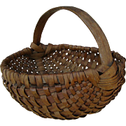 Vintage Splint Melon Shape Basket with Carved Handle