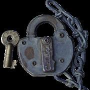 Vintage Rutland Railroad Brass Switch Key and Lock Set RRR Railway