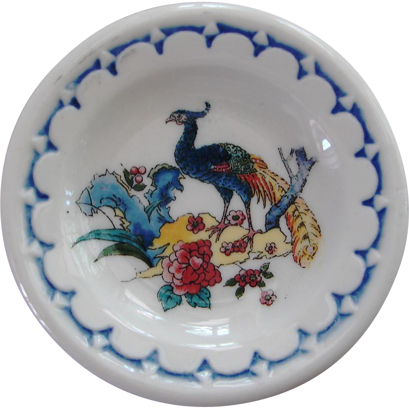 "Vintage Milwaukee Road Railroad "" Peacock "" China Butter Pat"