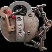 Vintage C&WI Chicago & Western Indiana Railroad Switch Lock & Key