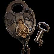 Antique New York New Haven & Hartford Railroad Car Lock & Key Set