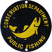 Vintage Tin Litho Fishing Marker Sign New York State Conservation Department