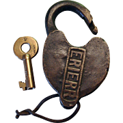 ERIE RR Cast Panel Heart Shape Railroad Switch Lock w/ Diamond Logo Key