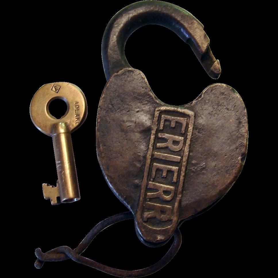 ERIE RR Cast Panel Heart Shape Railroad Switch Lock w/ Diamond Logo Key
