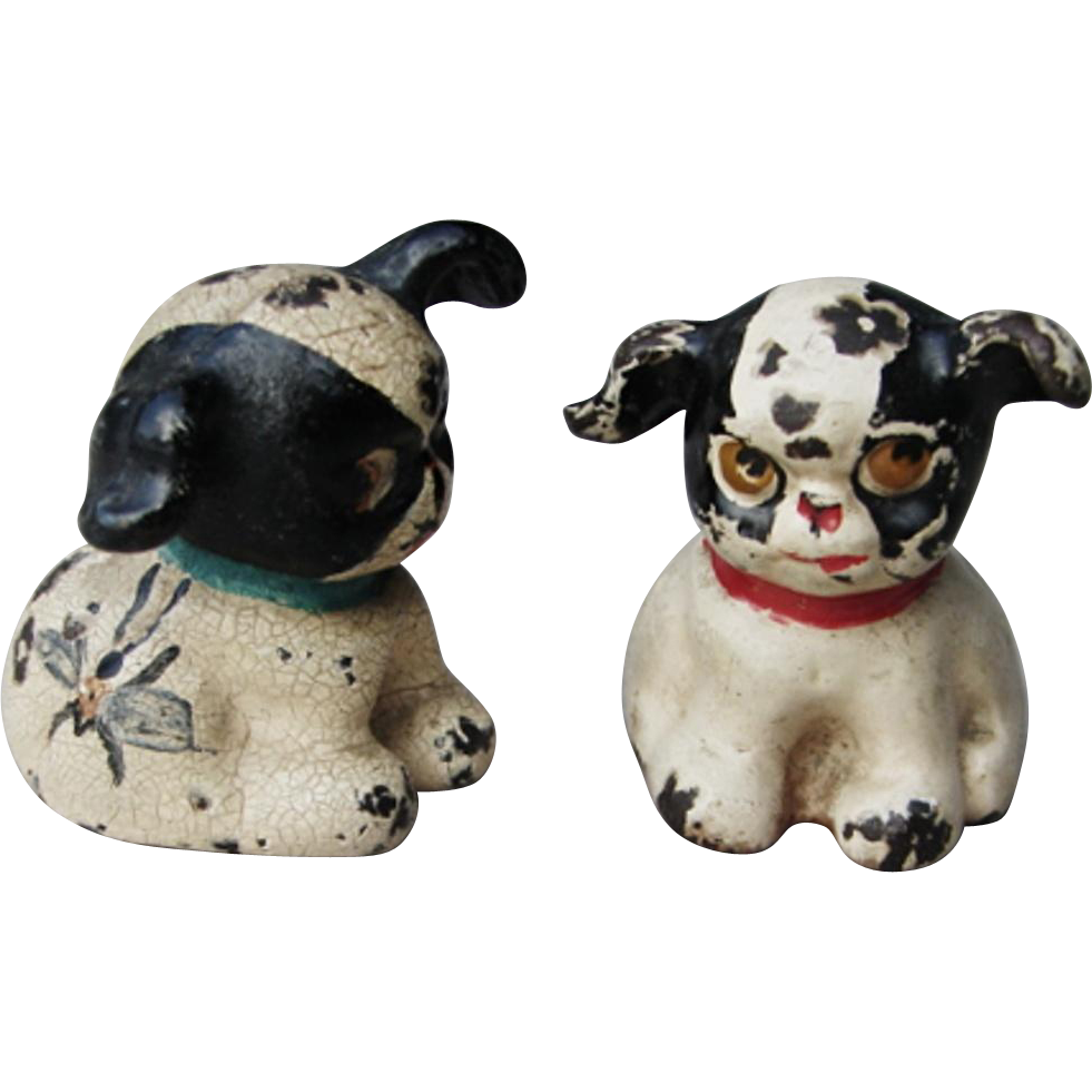 "TWO Vintage Hubley Cast Iron "" FIDO "" Tiny Cartoon Puppy Paperweight Dog Figurines"