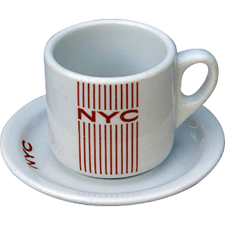 "New York Central Railroad ""Mercury"" Straight Sided Cup and Saucer Set NYCRR"