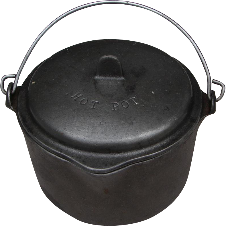 "Vintage Itty Bitty Wagner Ware ""Hot Pot"" Tiny Cast Iron Kettle w Lid"