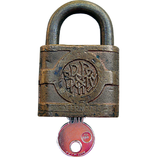 BR&PRR Railroad Engineering Department Brass Lock With Key