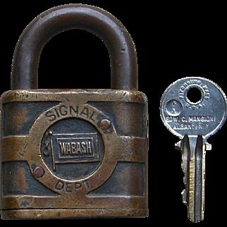 """Vintage Wabash Railroad """"Follow the Flag"""" Logo Brass Signal Lock by Yale w/ Key"""