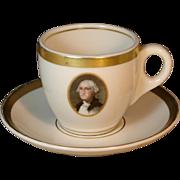 Vintage Chesapeake & Ohio Railroad George Washington China Demitasse Cup & Saucer Set