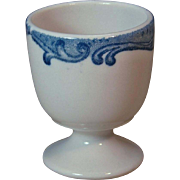 Vintage Union Pacific Railroad Harriman Blue Pedestal Single Egg Cup