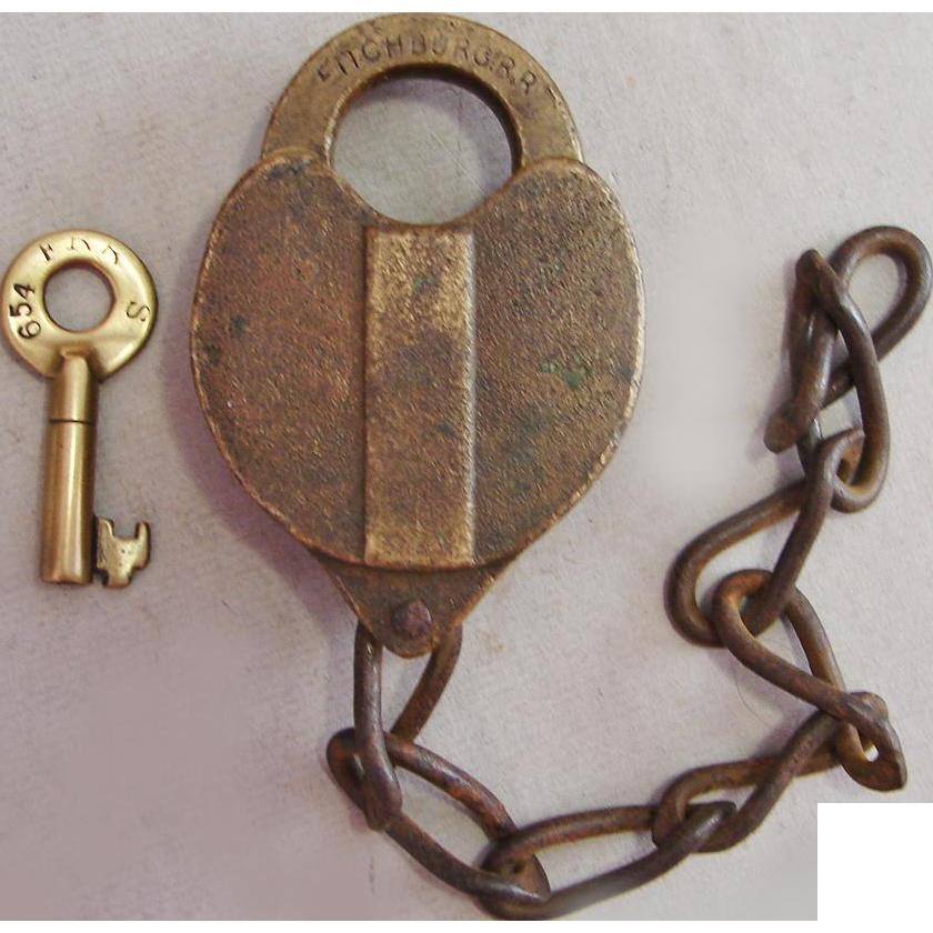 Antique Fitchburg Railroad Brass Heart Shape Lock and Key Set