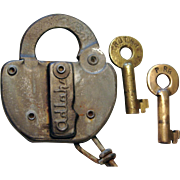 Rutland Railroad Steel Switch Lock with TWO Brass Keys