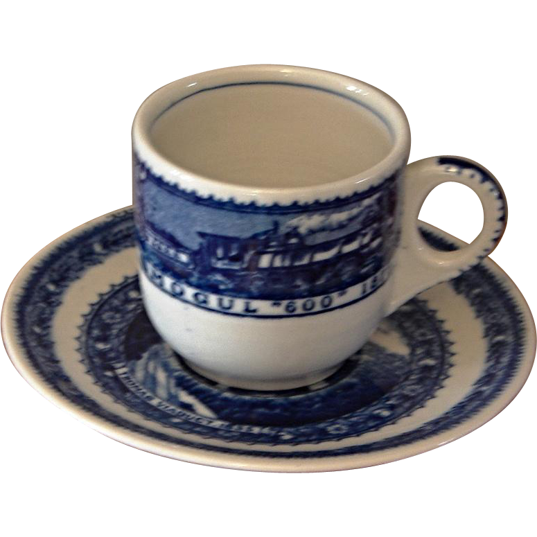 "Vintage Baltimore & Ohio Railroad "" Centenary "" Tiny Chocolate Cup and Saucer After-Dinner Set"