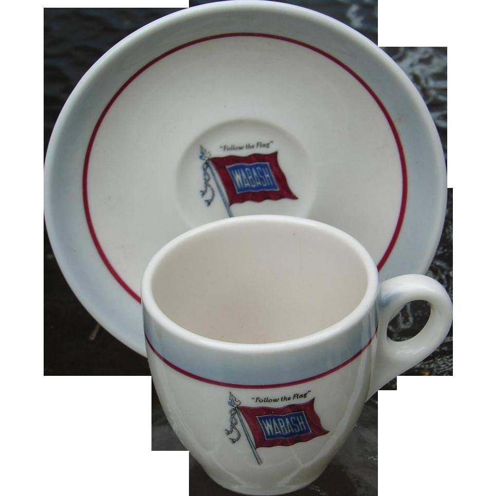 Vintage Wabash Railroad China Demitasse Cup and Saucer Set